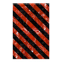 Stripes3 Black Marble & Red Marble (r) Shower Curtain 48  X 72  (small) by trendistuff