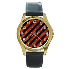 Stripes3 Black Marble & Red Marble Round Gold Metal Watch by trendistuff