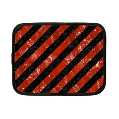 Stripes3 Black Marble & Red Marble Netbook Case (small)