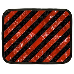 Stripes3 Black Marble & Red Marble Netbook Case (large) by trendistuff