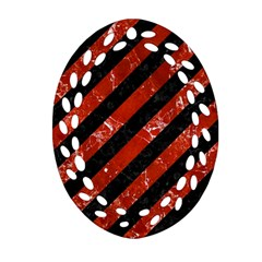 Stripes3 Black Marble & Red Marble Ornament (oval Filigree) by trendistuff