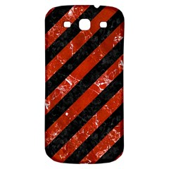 Stripes3 Black Marble & Red Marble Samsung Galaxy S3 S Iii Classic Hardshell Back Case by trendistuff