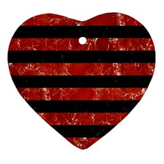 Stripes2 Black Marble & Red Marble Ornament (heart)