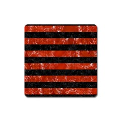 Stripes2 Black Marble & Red Marble Magnet (square) by trendistuff