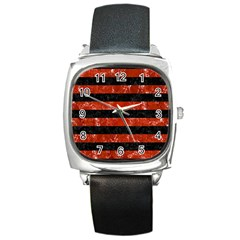 Stripes2 Black Marble & Red Marble Square Metal Watch by trendistuff