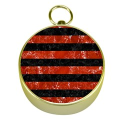 Stripes2 Black Marble & Red Marble Gold Compass by trendistuff