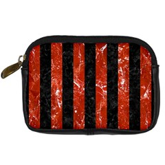 Stripes1 Black Marble & Red Marble Digital Camera Leather Case by trendistuff