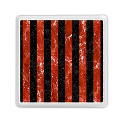 Stripes1 Black Marble & Red Marble Memory Card Reader (square) by trendistuff