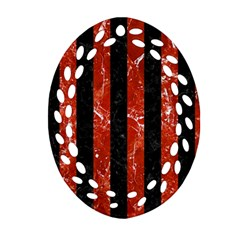 Stripes1 Black Marble & Red Marble Ornament (oval Filigree) by trendistuff