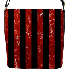 Stripes1 Black Marble & Red Marble Flap Closure Messenger Bag (s) by trendistuff