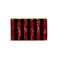 Stripes1 Black Marble & Red Marble Cosmetic Bag (xs) by trendistuff