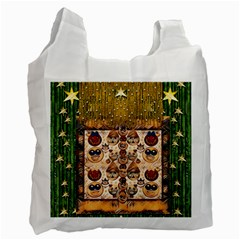 Festive Cartoons In Star Fall Recycle Bag (two Side)  by pepitasart