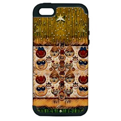 Festive Cartoons In Star Fall Apple Iphone 5 Hardshell Case (pc+silicone) by pepitasart