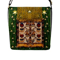 Festive Cartoons In Star Fall Flap Messenger Bag (l)  by pepitasart