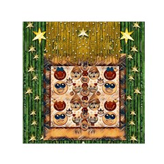 Festive Cartoons In Star Fall Small Satin Scarf (square) by pepitasart