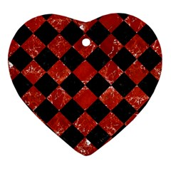 Square2 Black Marble & Red Marble Ornament (heart)