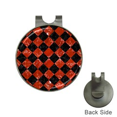 Square2 Black Marble & Red Marble Golf Ball Marker Hat Clip by trendistuff