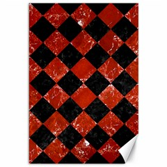 Square2 Black Marble & Red Marble Canvas 12  X 18  by trendistuff