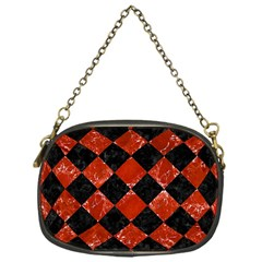 Square2 Black Marble & Red Marble Chain Purse (one Side) by trendistuff