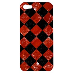 Square2 Black Marble & Red Marble Apple Iphone 5 Hardshell Case by trendistuff