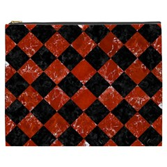 Square2 Black Marble & Red Marble Cosmetic Bag (xxxl) by trendistuff