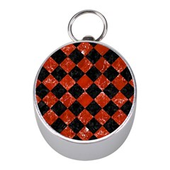 Square2 Black Marble & Red Marble Silver Compass (mini)