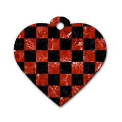 Square1 Black Marble & Red Marble Dog Tag Heart (one Side) by trendistuff