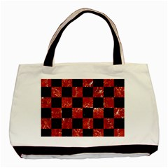 Square1 Black Marble & Red Marble Basic Tote Bag (two Sides) by trendistuff