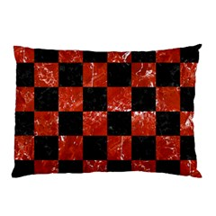 Square1 Black Marble & Red Marble Pillow Case (two Sides) by trendistuff