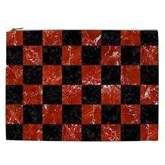 Square1 Black Marble & Red Marble Cosmetic Bag (xxl) by trendistuff