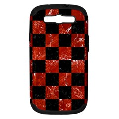 Square1 Black Marble & Red Marble Samsung Galaxy S Iii Hardshell Case (pc+silicone) by trendistuff