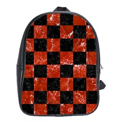 Square1 Black Marble & Red Marble School Bag (xl) by trendistuff