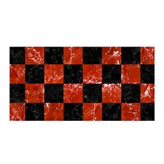 Square1 Black Marble & Red Marble Satin Wrap by trendistuff