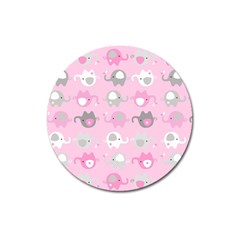 Animals Elephant Pink Cute Magnet 3  (round) by Jojostore