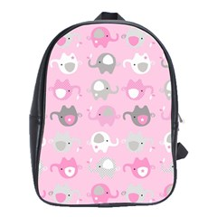 Animals Elephant Pink Cute School Bags(large)