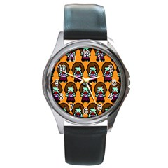 Zombie Woman Fill Orange Round Metal Watch