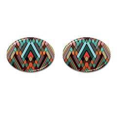 Abstract Mosaic Color Box Cufflinks (oval) by Jojostore