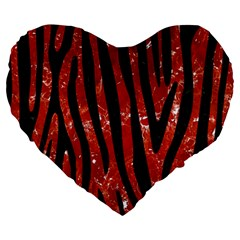 Skin4 Black Marble & Red Marble Large 19  Premium Heart Shape Cushion