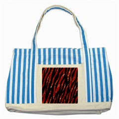 Skin3 Black Marble & Red Marble Striped Blue Tote Bag by trendistuff