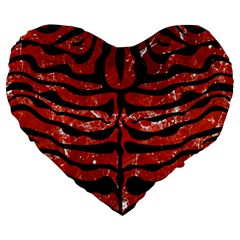 Skin2 Black Marble & Red Marble (r) Large 19  Premium Flano Heart Shape Cushion by trendistuff