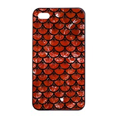 Scales3 Black Marble & Red Marble (r) Apple Iphone 4/4s Seamless Case (black) by trendistuff