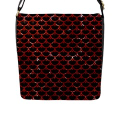 Scales3 Black Marble & Red Marble Flap Closure Messenger Bag (l)