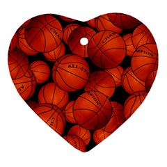Basketball Sport Ball Champion All Star Heart Ornament (2 Sides) by Jojostore