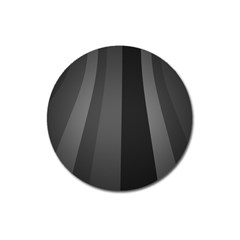 Black Minimalistic Gray Stripes Magnet 3  (round)