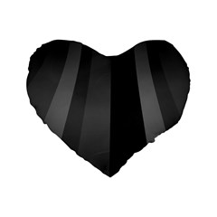 Black Minimalistic Gray Stripes Standard 16  Premium Heart Shape Cushions by Jojostore