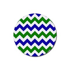 Blue And Green Chevron Pattern Rubber Coaster (round)  by Jojostore