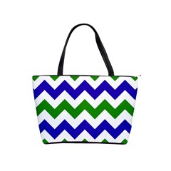 Blue And Green Chevron Pattern Shoulder Handbags
