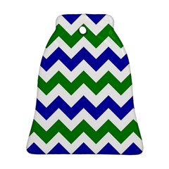 Blue And Green Chevron Pattern Bell Ornament (2 Sides) by Jojostore