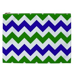 Blue And Green Chevron Pattern Cosmetic Bag (xxl)  by Jojostore
