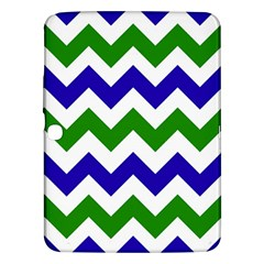 Blue And Green Chevron Pattern Samsung Galaxy Tab 3 (10 1 ) P5200 Hardshell Case  by Jojostore